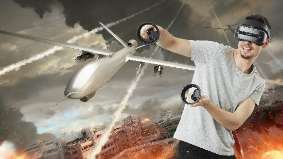 Two UAV / drones descend into the chaotic landscape of a war torn city. This is an original digital illustration combining 3d and image editing techniques.