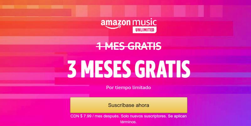Amazon Music ofrece una prueba gratuita de tres meses a nuevos suscriptores